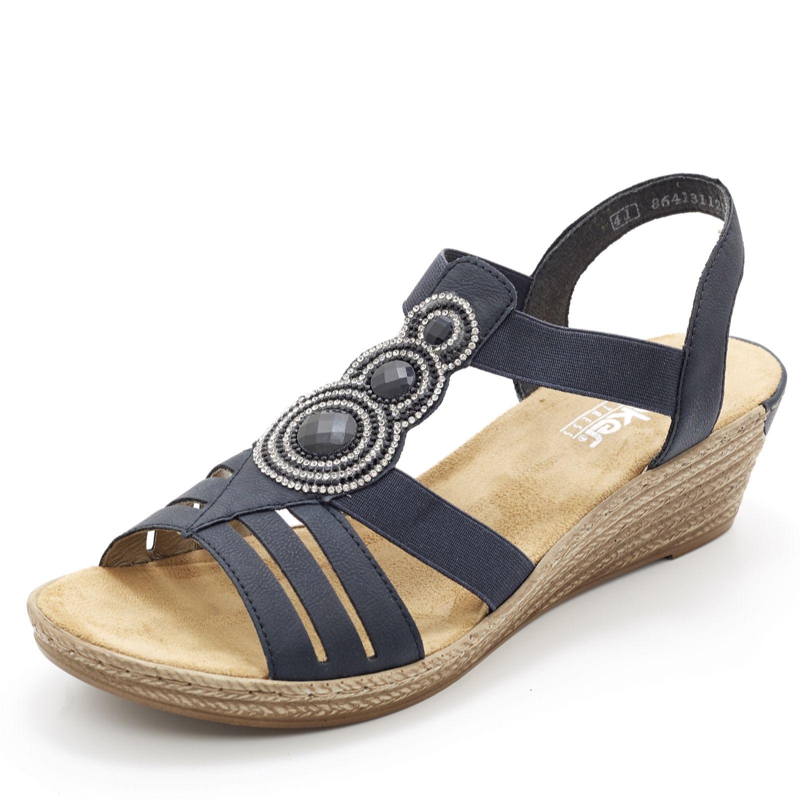 Rieker Wedge Sandal with Embellished Disc Detail - 164070