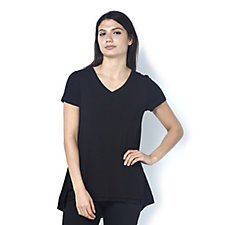 H by Halston Cap Sleeve T-Shirt with Mesh Trim