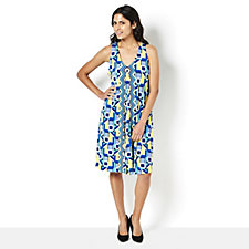 Ronni Nicole Sleeveless Printed V Neck Swing Dress with Racer Back