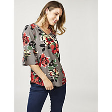 Denim & Co. Large Floral Print Bell Sleeve Blouse