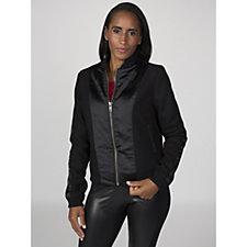 Label Lab Satin & Brushed Knit Bomber Jacket