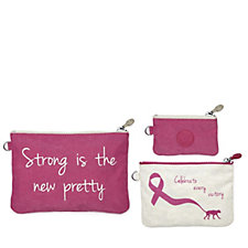 Kipling Breast Cancer Care Strength Set of 3 Pouches
