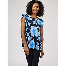 Together Tropical Print Frill Sleeve Top