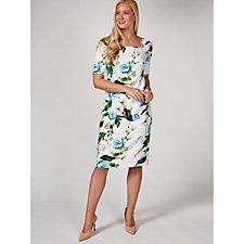 172270 - Ruth Langsford 3/4 Length Sleeve Peony Print Shift Dress