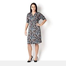 Kim & Co Petite Filagree Paisley Crossover Empire Line Dress