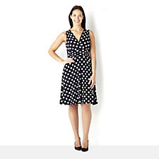 Ronni Nicole 'O So Slim' Polka Dot Ruched Waist Flare Dress