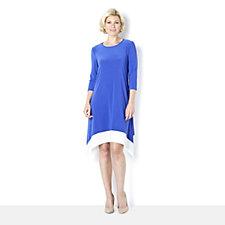 3/4 Sleeve Sharkbite Dress with Contrast Hem by Nina Leonard