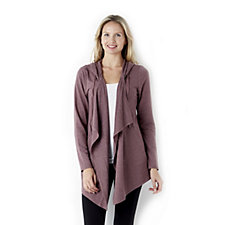 LOGO Lounge by Lori Goldstein French Terry Jacket with Cascading Front