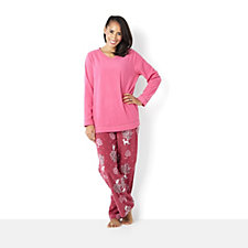 Carole Hochman Printed Long Sleeve Microfleece PJ Set