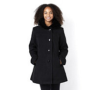 Centigrade Button Fastening Faux Wool Coat with Velvet Hood - 153571