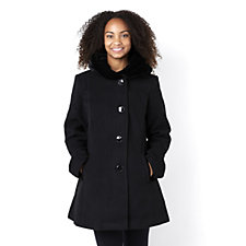 Centigrade Button Fastening Faux Wool Coat with Velvet Hood