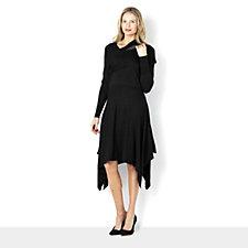157671 - Knitted Sharkbite Hem Dip Side Dress and Scarf Set by Nina Leonard