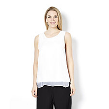 Andrew Yu Solid Knit Top with Textured Front Panel  & Chiffon Overlay