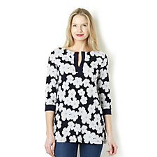 Tiana B 3/4 Sleeve Daisy Floral Tunic with Contrast Placket Detail