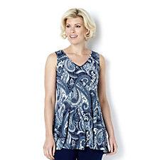 Kim & Co Paisley Print Venechia Sleeveless Flared Top