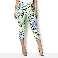 Diane Gilman Floral Print Skinny Crop Twill Trouser