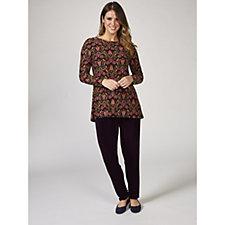 Kim & Co Filigree Floral Brushed Venechia Long Sleeves Hem Tunic