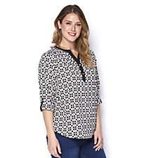 C. Wonder Geo Printed Blouse with Solid Trim & Fixed Roll Sleeve