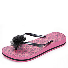 Pretty You London Tessa Flower Corsage Wedge Flip Flop