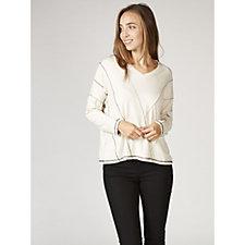 MarlaWynne Stitch Detail Long Sleeve V Neck Jersey Top