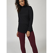 Denim & Co. Mock Neck Long Sleeve Top with Hi Low Shirttail Hem