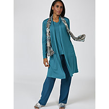 Antthony Designs 3 Piece Duster, Top & Trouser Set with Printed Scarf