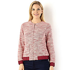 Isaac Mizrahi Live Knitted Tweed Bomber Jacket