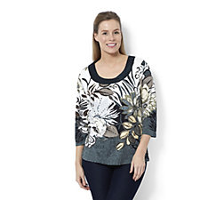 Artscapes Floral Garden 3/4 Sleeve Satin Trim Wide Neck Top