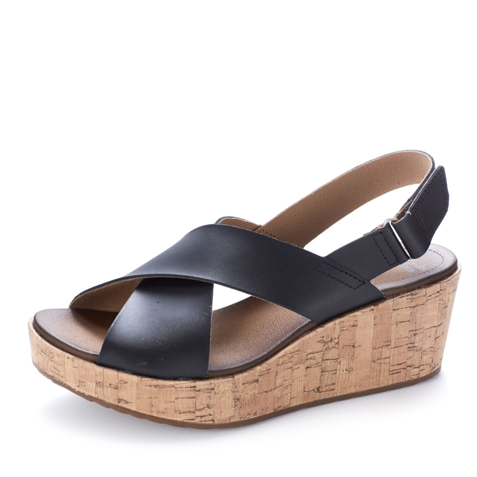 Wide fit sandals shoes uk - Clarks Stasha Hale Leather Wedge Shoe With Loop Fastening Wide Fit Page 1 Qvc Uk