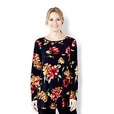 Kim & Co English Rose Brazil Knit Long Sleeve Flared Tunic