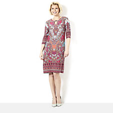 Tiana B 3/4 Sleeve Jersey Dress with Swirl Border