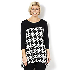 Grace Houndstooth Dip Back Hem Tunic