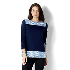 Weekend Stretch Cotton 3/4 Sleeve Top by Susan Graver