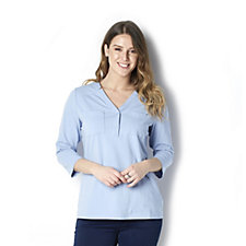 Denim & Co. 3/4 Sleeve Y-Neck Top with Front Pocket Detail