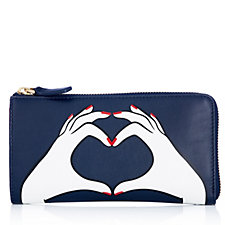 Lulu Guinness Heart Hands Smooth Leather Zip Around Wallet