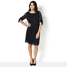 Ronni Nicole Stretch Lace Dress with Tie Sleeve Detail & Scalloped Hem