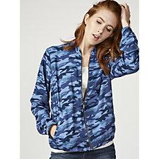 Denim & Co. Zip Front Camo Print Bomber Jacket