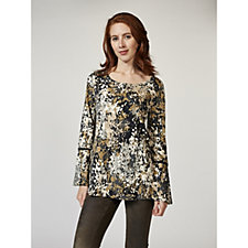 Isaac Mizrahi Live Long Sleeve Printed Top with Fluted Cuffs & Lace Detail