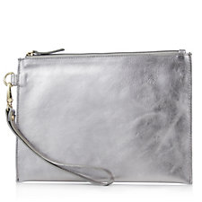 Amanda Lamb Leather Small Clutch with Detachable Wristlet