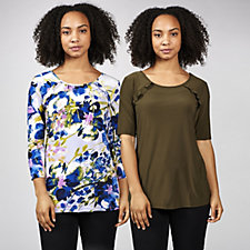 Pack of 2 Plain & Printed Ruffle Front Tops by Nina Leonard