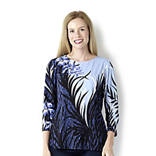 Bob Mackie Printed Floral Long Sleeve Jersey Top