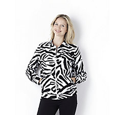 French Terry Zip Front Bomber Jacket with Zebra Print by Susan Graver