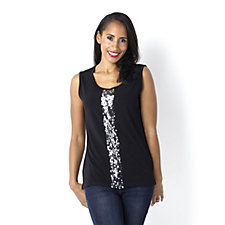 Sequin Shine Panel Sleeveless Top by Michele Hope