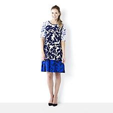 Ronni Nicole Leaf Border Printed Shift Dress