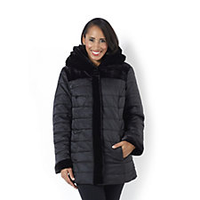 Centigrade Quilted Satin Puffer Coat With Velvet Hood And Trim