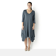 Join Clothes Rounded V Neck Jersey Dress with Gathered Hem