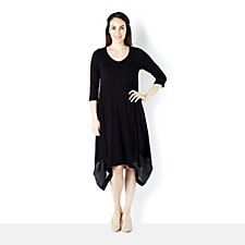 Join Clothes Jersey V Neck Dress with Lux Inserts Pinched At Hem