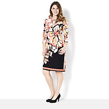 Tiana B Jersey Shift Dress Floral Abstract Print with Stripe Border