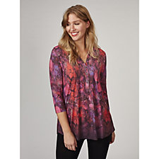 Fashion by Together Printed Tunic with Pintuck Detail