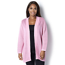 Rib Knitted Cardigan with Shawl Collar by Michele Hope
